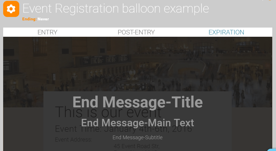 Event Registration Expiration Message